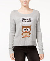 Almost Famous Juniors' I Need Coffee Owl Graphic Sweater