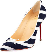 Christian Louboutin Decol Spa Striped Terry Red Sole Pump
