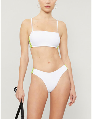 Selfridges Hailey Bieber x Kelia Moniz Sporty neon logo-trimmed bandeau bikini top