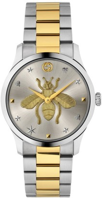 Gucci G-Timeless Stainless Steel & Yellow Gold PVD Bee Motif Watch
