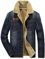 K3K Hot! New Mens Fashion Plus Velvet And Thin Section Loose Denim Jacket