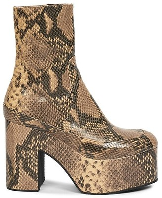 Dries Van Noten Snakeskin-Embossed Leather Platform Boots