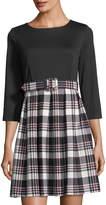 Eliza J 3/4-Sleeve Belted Pleated Plaid Dress