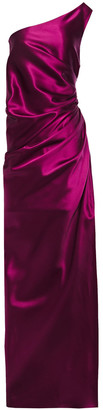 Lanvin One-shoulder Gathered Duchesse Silk-satin Gown