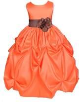ekidsbridal Wedding Taffeta Orange Bubble Pick-up Kid Flower Girl Dress Halloween 301s