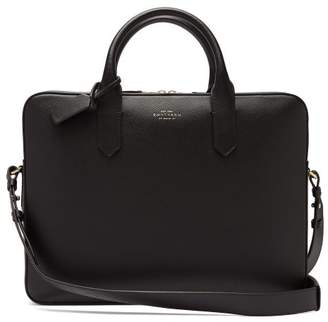 Smythson Panama Leather Briefcase - Mens - Black