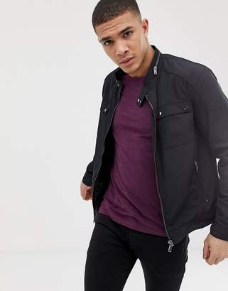 Celio bomber jacket with pockets in black-Navy