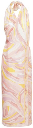 Emilio Pucci Printed Silk Twill Dress W/ Open Back