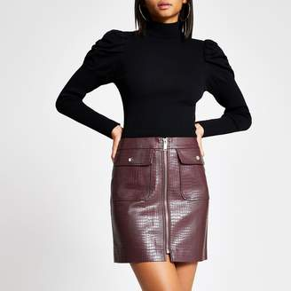 River Island Womens Red faux leather croc embossed mini skirt