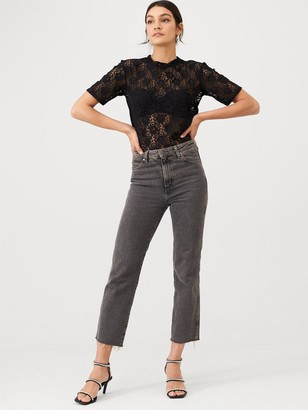 Very Floral Lace Boxy Top - Black