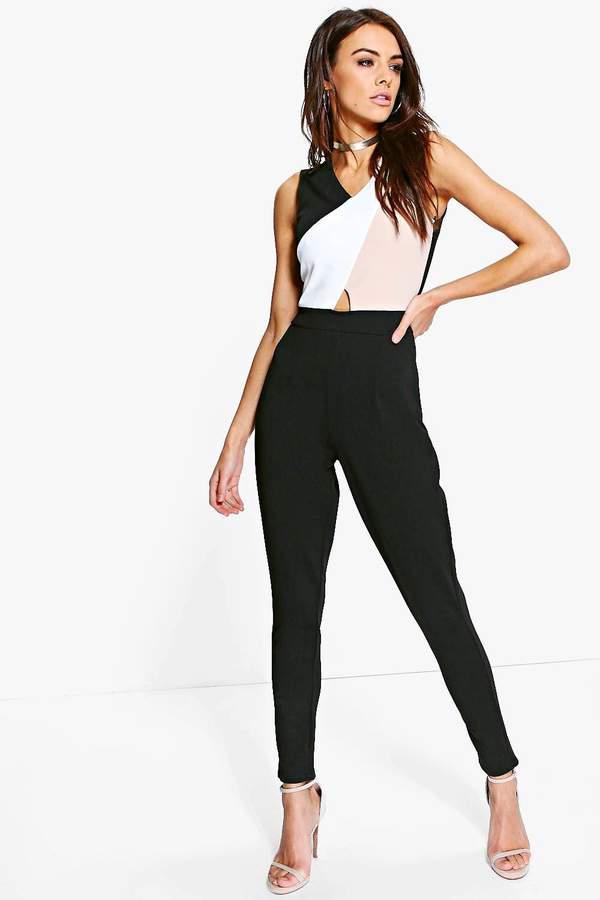 Colour Block Skinny Leg Jumpsuit