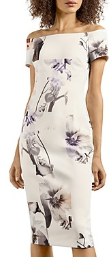 Ted Baker Vanilla Off The Shoulder Sheath Dress
