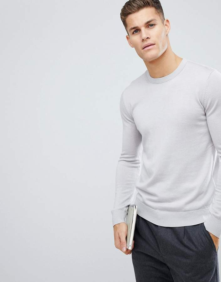 Reiss Knitted Crew Jumper In Merino