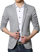 Pishon Men's Casual Blazer Jacket Lightweight Cotton Slim Fit One Button Sport Coat, Grey, Tag Size XXXXL=US Size L