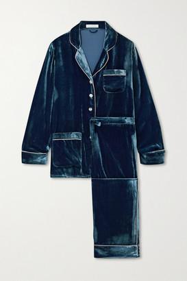 Olivia von Halle Coco Lurex-trimmed Velvet Pajama Set - Blue