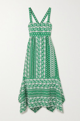 Erdem Oleanna Asymmetric Embroidered Cotton And Silk-blend Midi Dress - Green