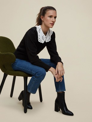 Dorothy Perkins Broderie Collar 2 In 1 Jumper - Black