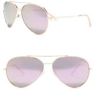 Cole Haan Metal Aviator 63mm Polarized Sunglasses