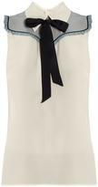 Miu Miu Neck-tie sleeveless silk crepe de Chine blouse