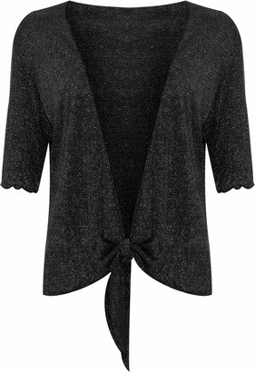Wearall Plus Size Womens Lurex Sparkly 3/4 Sleeve Tie Up Ladies Shrug Top - Black - 16-18