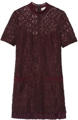 Sandro Bordaux Floral Lace Shift Dress