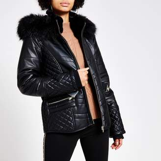 River Island Womens Black faux leather fitted padded jacket