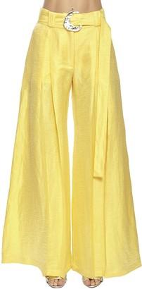 Taller Marmo High Waist Linen Blend Wide Leg Pants