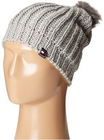Tommy Hilfiger Chunky Beaded Beanie with Faux Fur Pom