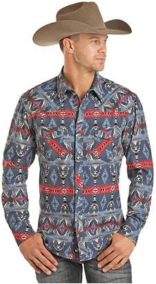Rock and Roll Cowboy Dale Brisby Aztec Print Long Sleeve Snap B2S2328 (Indigo) Men's Clothing