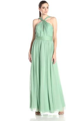 Halston Women's Crinkle Cross Neck Chiffon Evening Gown