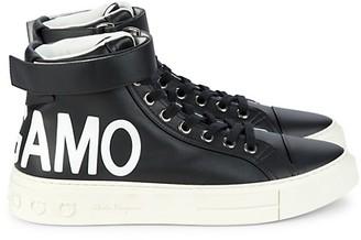 Salvatore Ferragamo Logo Leather High-Top Sneakers
