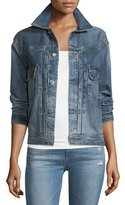 AG Adriano Goldschmied Cassie Button-Front Faded Denim Jacket