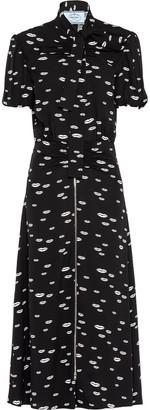 Prada Lips-Print Tie-Neck Dress
