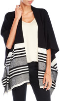 Qi Color Blocked Cashmere Poncho