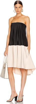 Tibi Drape Strapless Bias Dress in Black & Blush | FWRD