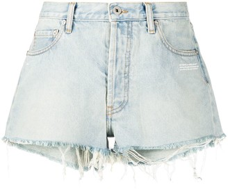 Off-White Bleached Frayed Denim Shorts