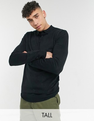 French Connection Tall long sleeve polo in navy