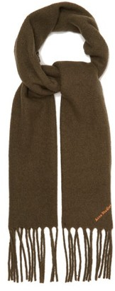 Acne Studios Villy Logo-embroidered Wool-blend Boucle Scarf - Khaki