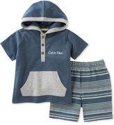 Calvin Klein 2-Pc. Hoodie & Striped Shorts Set, Baby Boys (0-24 Months)