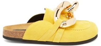 J.W.Anderson Chain Backless Suede Loafers - Yellow