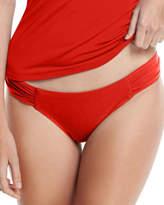 Jets Jetset Gathered-Side Hipster Swim Bikini Bottom, Red