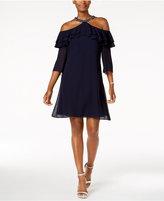 MSK Embellished Ruffled Shift Dress
