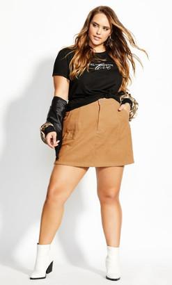 City Chic Corduroy Skirt - gold