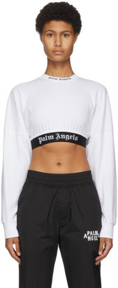 Palm Angels White Cropped Logo Long Sleeve T-Shirt