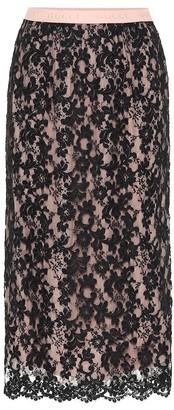 Gucci High-rise lace midi skirt
