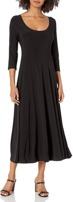 Norma Kamali Women's Long Sleeve Reversible Scoop Neck Flaired Dress