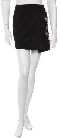 Anthony Vaccarello Embellished Suede Skirt w/ Tags