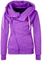 DOKER Women's Personality Oblique Zipper Hoodie Sweater Coat, L