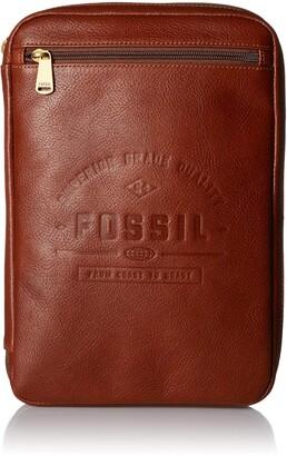"""Fossil Men's Tech Pouch Cognac 11.25""""L x 8.25""""W x 1.75""""H"""