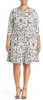 Eliza J Three-Quarter Sleeve Lace Fit & Flare Dress